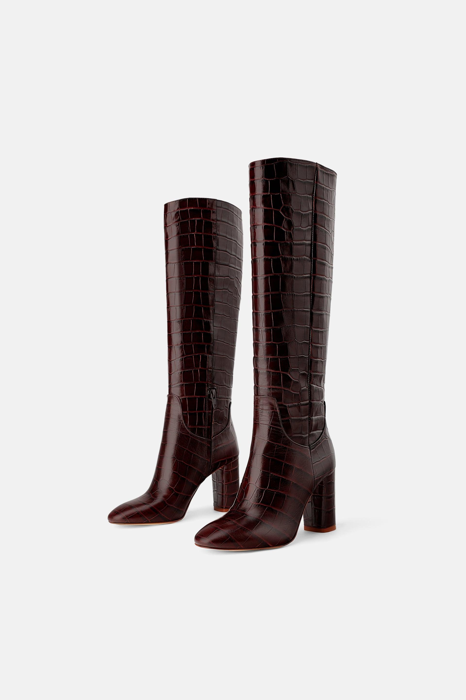 Zara + Heeled Animal Print Boots