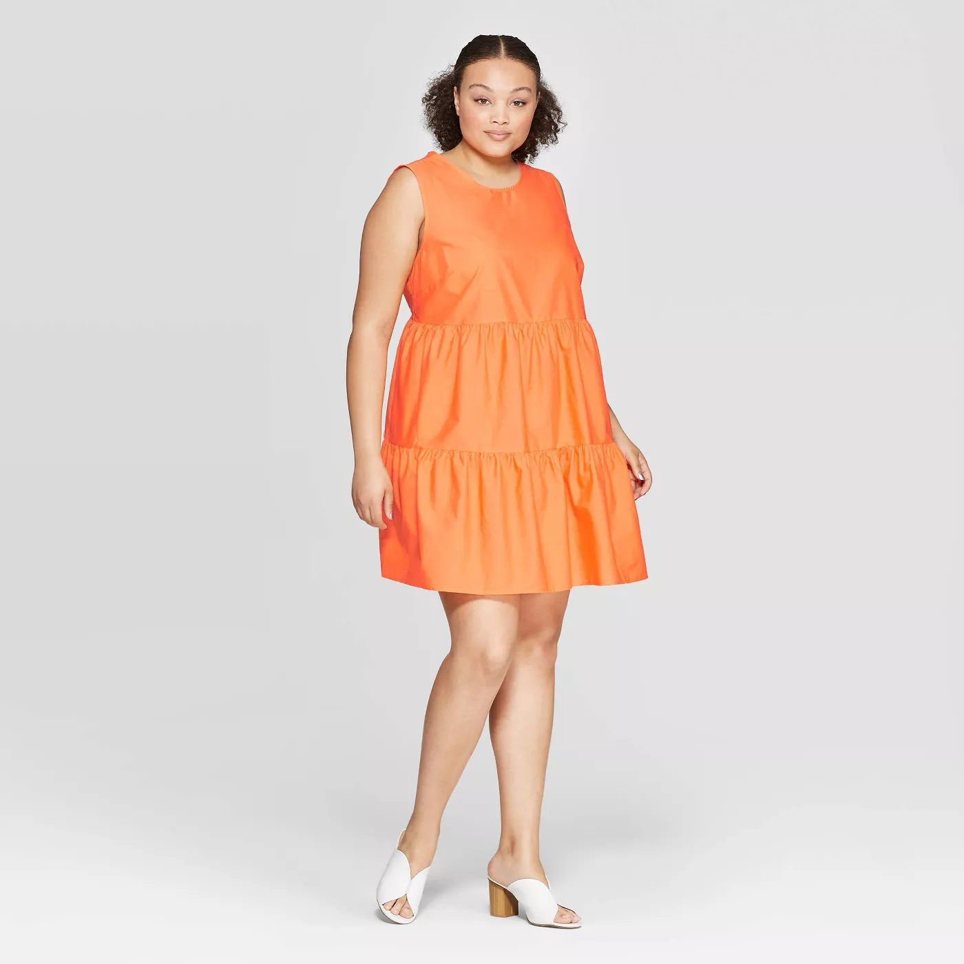 Plus Size Sleeveless Back Button-Down Tiered Mini Dress