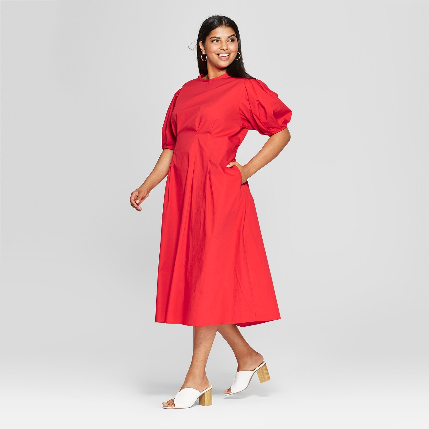 Plus Size Puff Sleeve Midi Dress