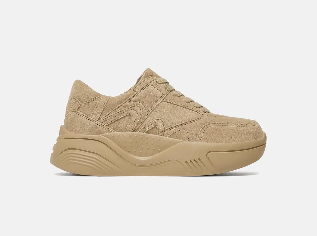 Zara + Split Suede Platform Sneakers