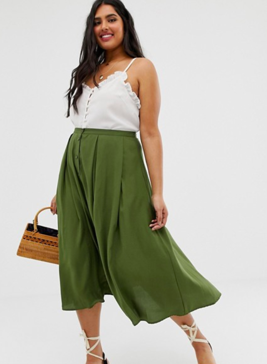 good looking find lowest price cheapest sale Button Front Floaty Midi Skirt