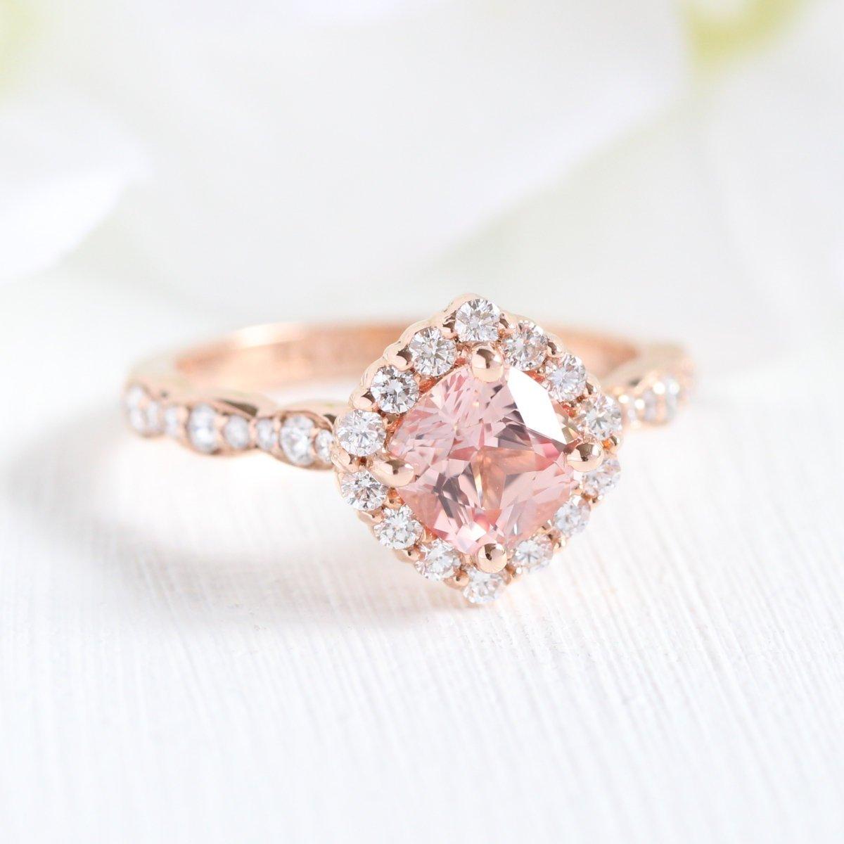Pink Diamond Ring >> Rose Gold Bridal Set