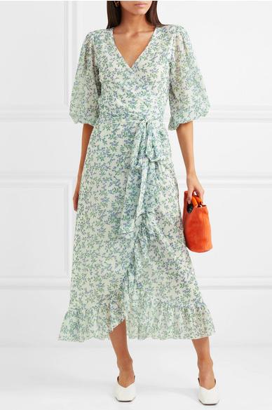 f6a87c1f1a Ganni + Tilden Floral-Print Mesh Wrap Dress