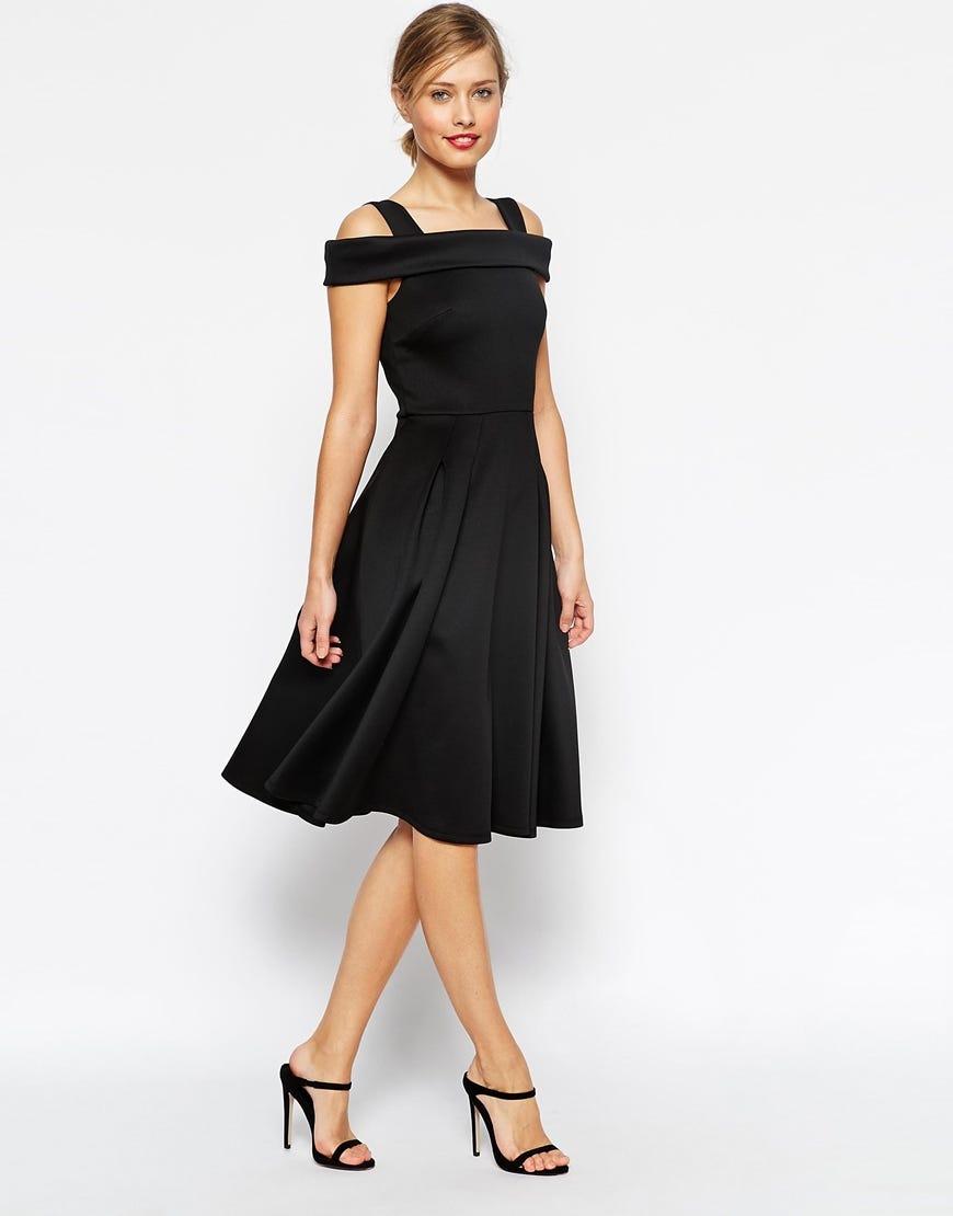 798e7bca148 ASOS. Bardot Strappy Debutante Midi Dress