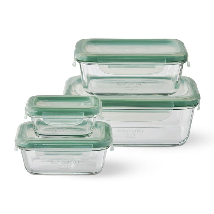 8-Piece Smart Seal Glass Rectangle Container