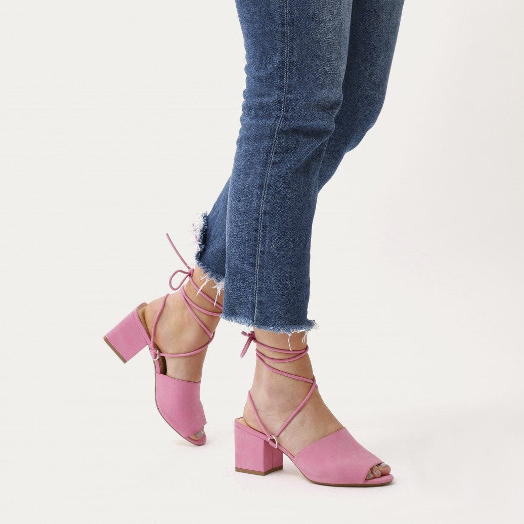 Lena Wedge Heeled Mules in Neon Pink   Public Desire