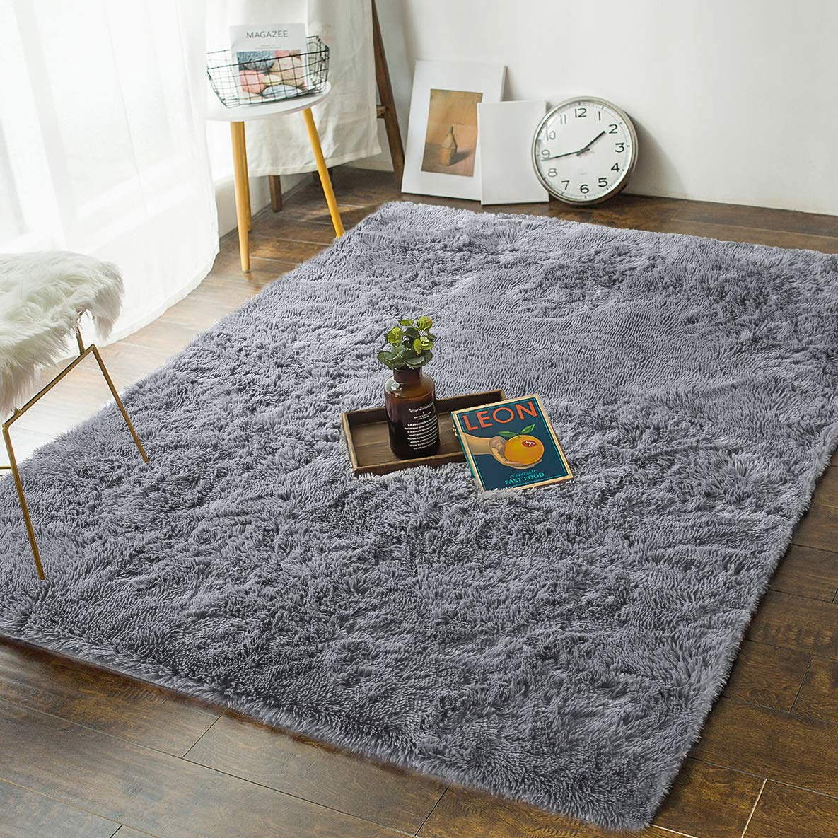 And Beyond + Soft Bedroom Rugs - 4' x 5.3' Shaggy Floor ...