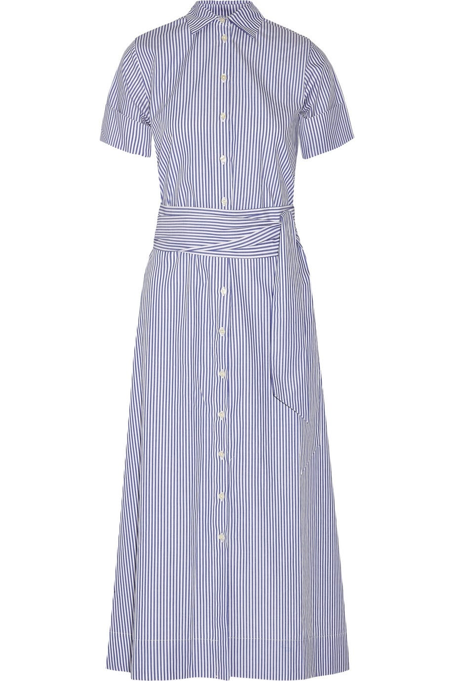 Lisa Marie Fernandez Striped Cotton Poplin Shirt Dress