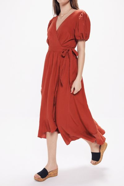 ae278e7fa3a UO. Amalfi Linen Midi Wrap Dress