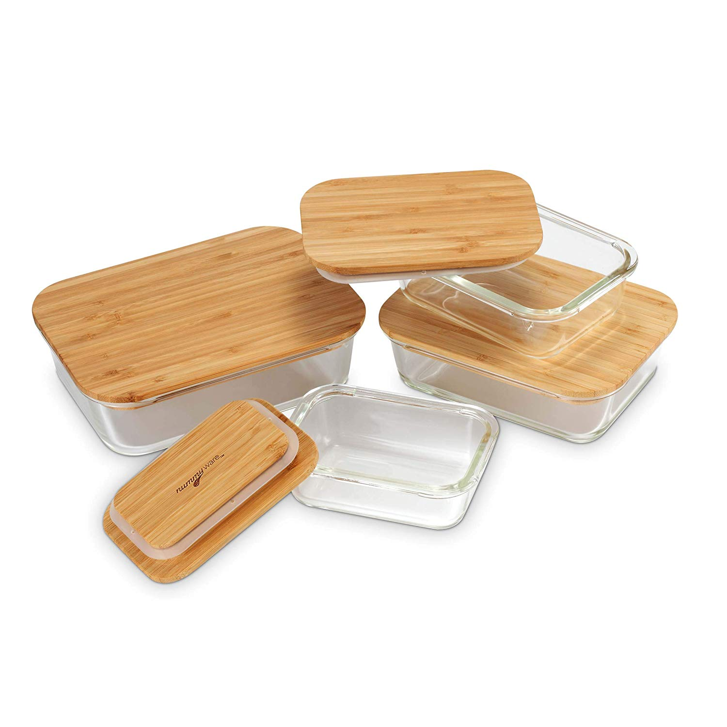 Plastic-free Glass Food Containers with Sustainable Bamboo Tops (Set of 4:  370mL, 640mL, 1040mL, 1520mL)