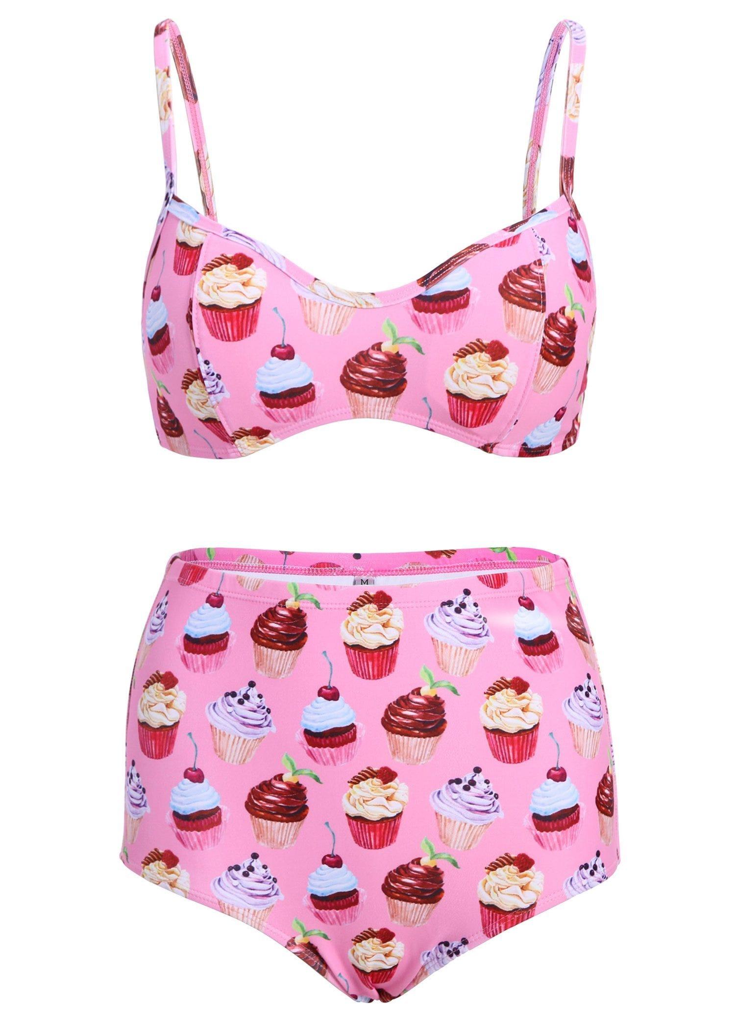 28dc4f3ef5 Pretty Attitude + Light Pink Cupcake High Waist Retro Two Piece Bikini