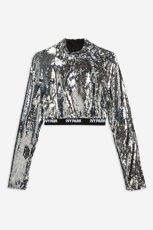 27c2be32d21c15 Ivy Park + Long Sleeve Sequin Crop Top