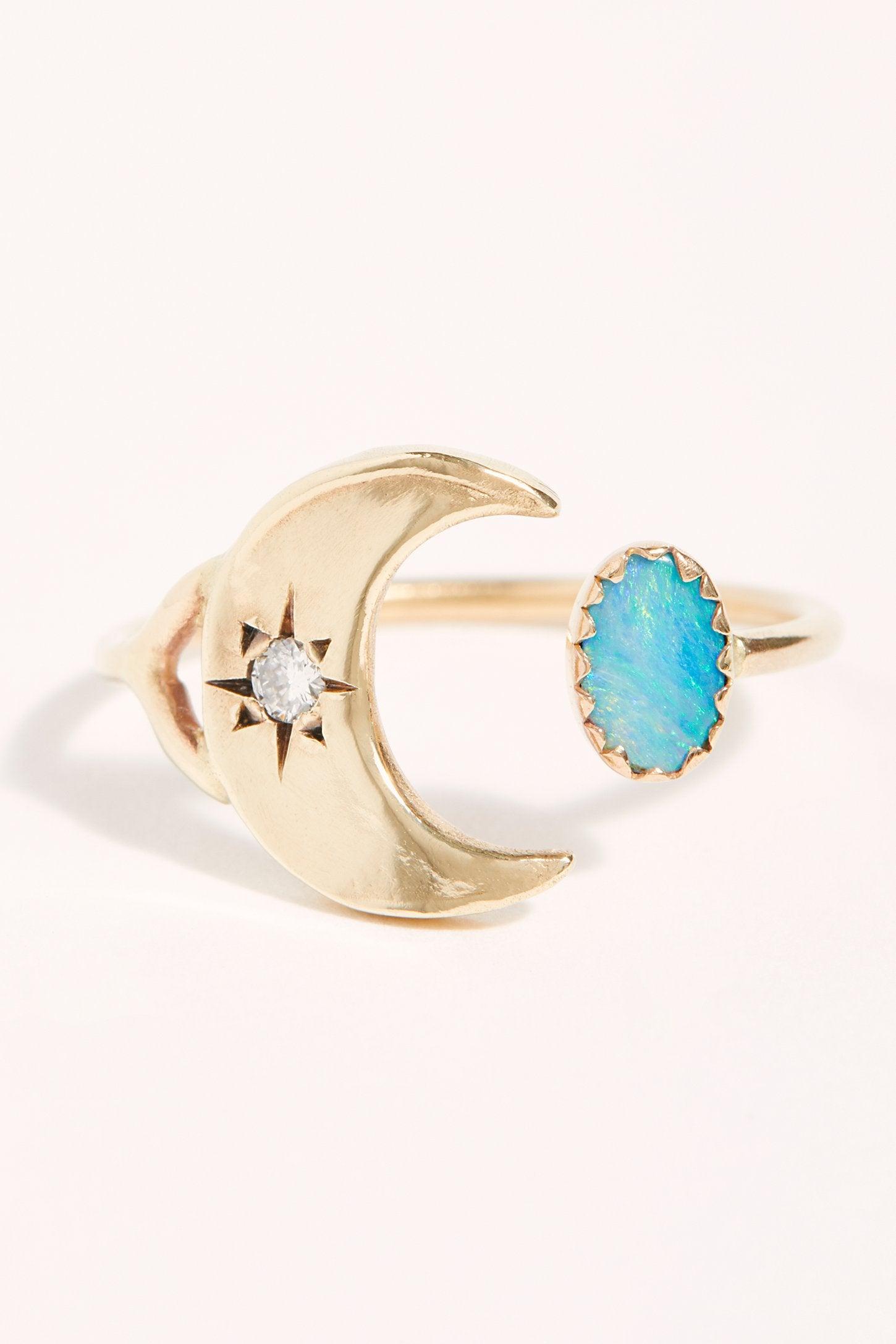 Diamond Crescent Open Ring