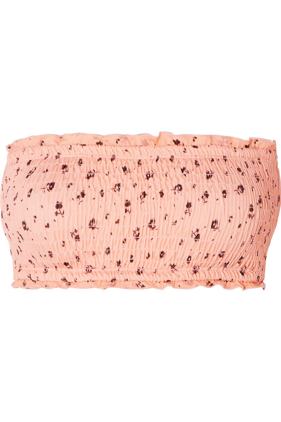 Smocked Floral-Print Bandeau Bikini Top