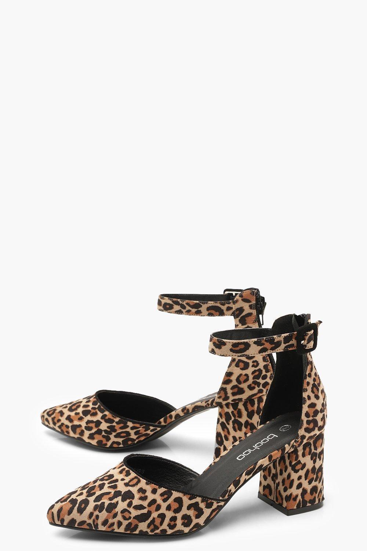 Leopard Print Pointed Low Block Heel