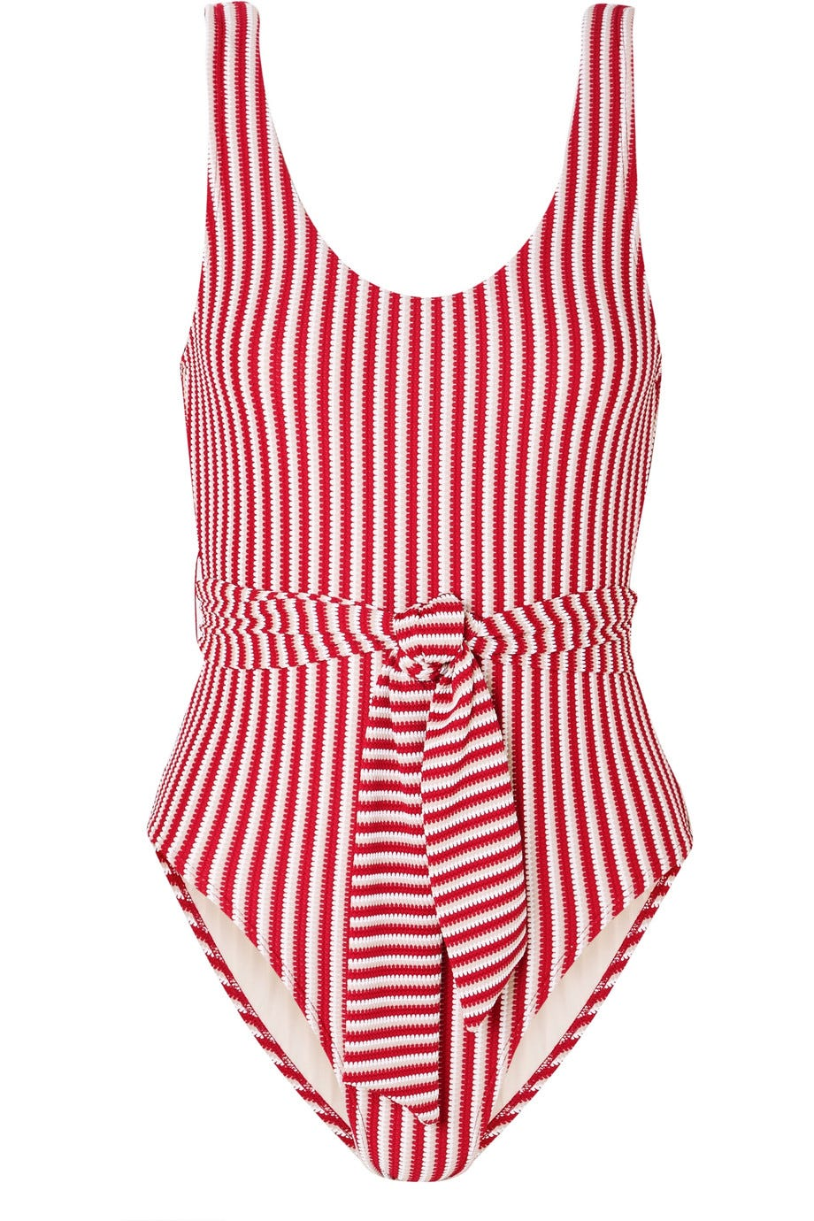 Belted Striped Jacquard-Knit Swimsuit