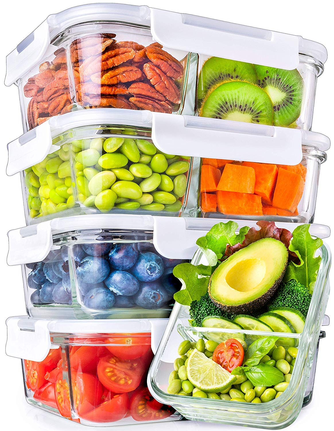 Glass Meal Prep Containers With 2 Compartments