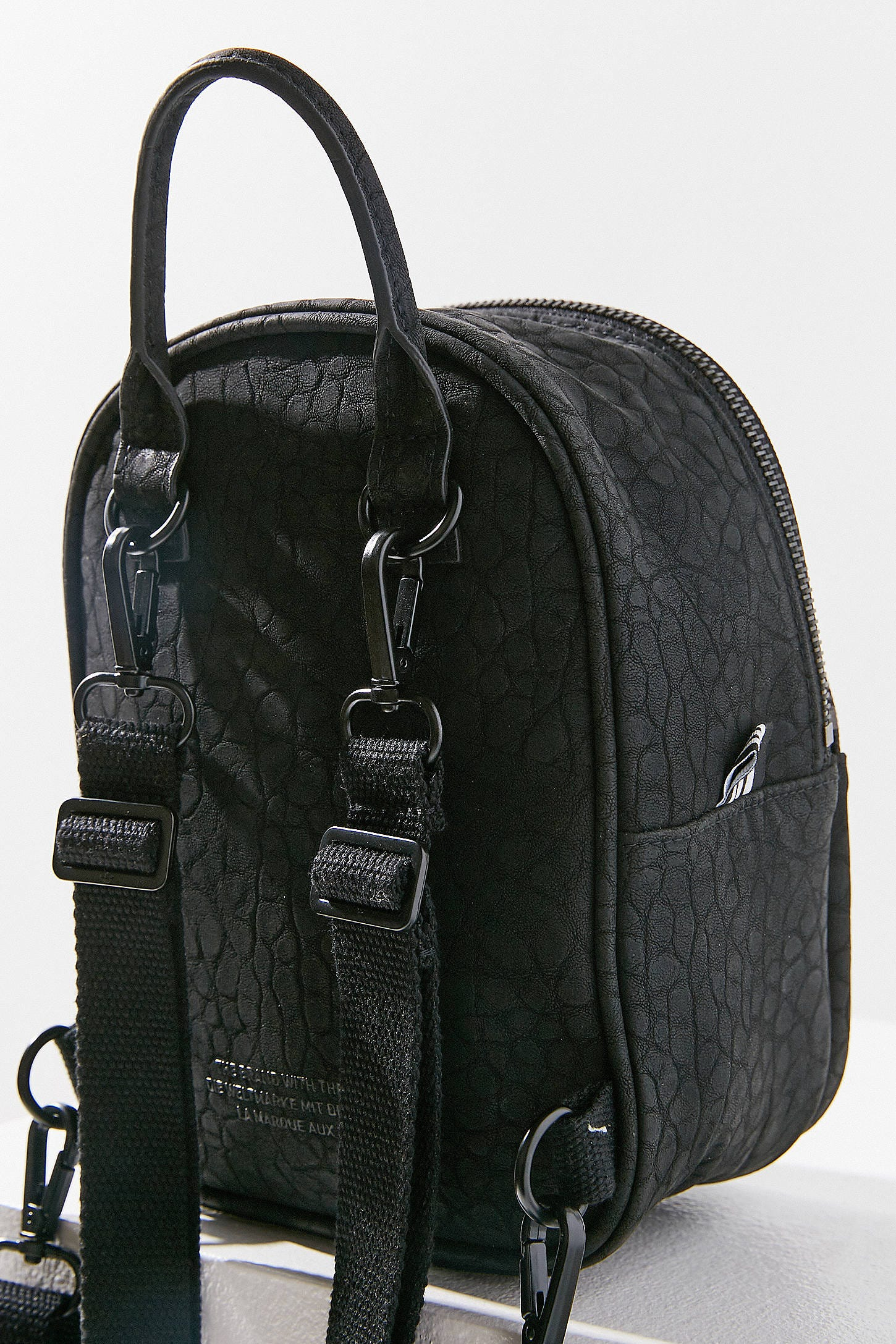 Adidas Originals Woman Faux Leather Backpack Black Size adidas