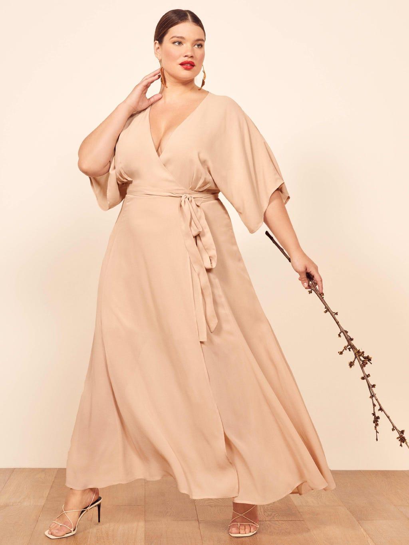 Plus Size Foil Faux-Wrap Dress