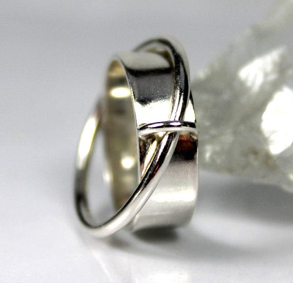 Satellite Fidget Ring Sterling Silver Anxiety Meditation Joined Rings Unique Jewellery