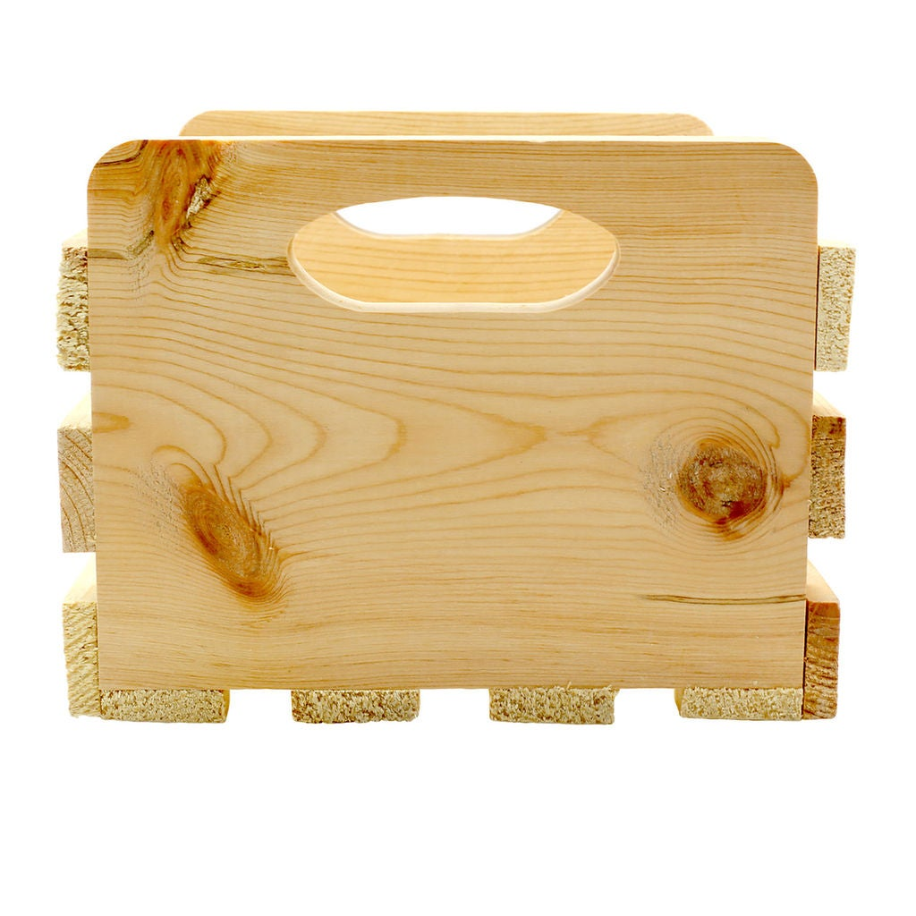 Small Wood Crate With Cutout Handles